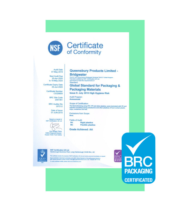 BRC Packaging Certificate 2019 Queensbury Products Plastic Packaging PET 2