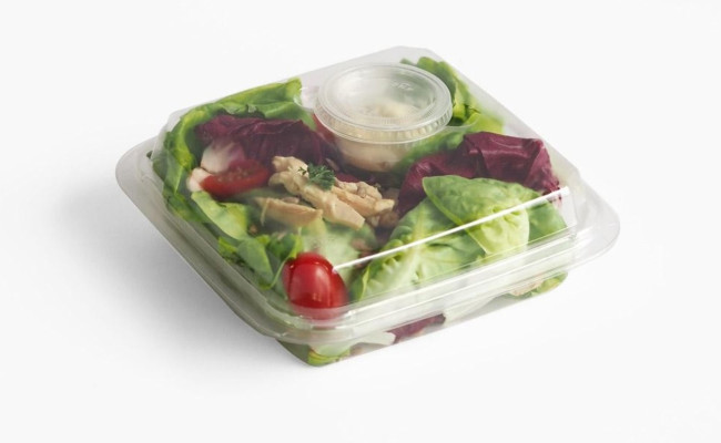 clam salad tray box sauce pot lid green commitment focus queensbury products bridgwater somerset plastic packaging