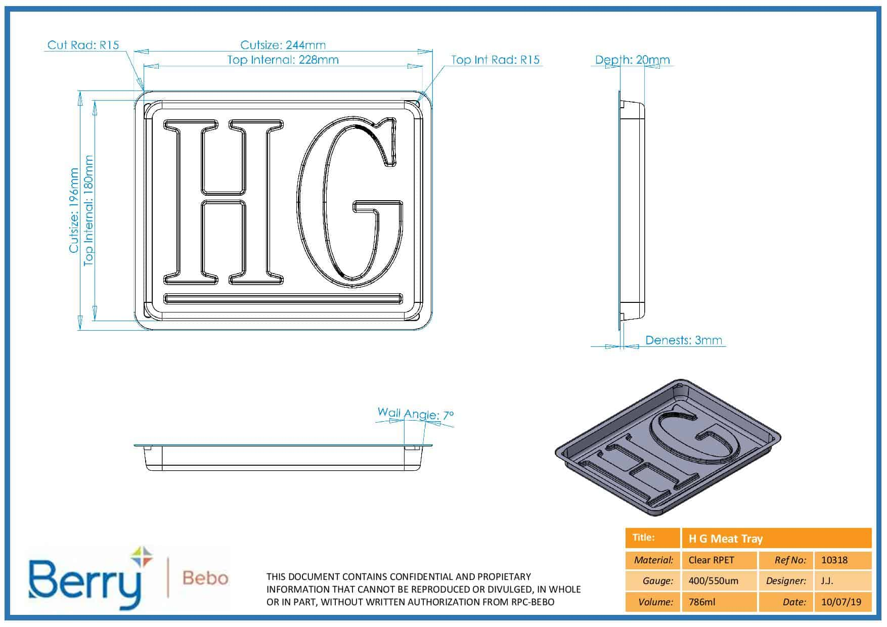 A CAD design of a meat tray designed by Queensbury Products Ltd in Bridgwater, Somerset, UK.