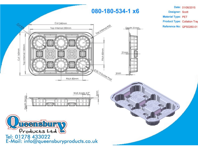 A CAD design of a food tray designed by Queensbury Products Ltd